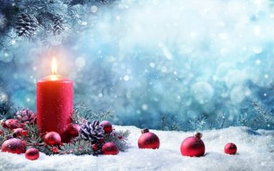 Advent Candle With Fir Branches Burning In Snowy Scene